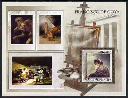 St Thomas & Prince Islands 2007 Paintings by Goya perf deluxe s/sheet containing 1 value unmounted mint
