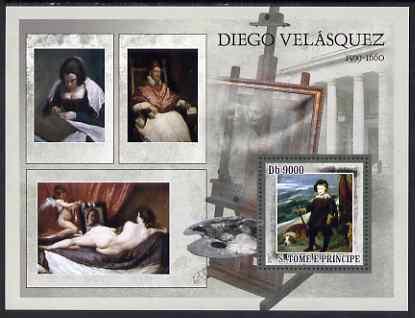 St Thomas & Prince Islands 2007 Paintings by Velasquez perf deluxe s/sheet containing 1 value unmounted mint