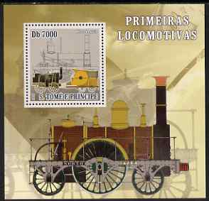 St Thomas & Prince Islands 2007 Steam locomotives - Mare Leguin perf deluxe s/sheet containing 1 value unmounted mint
