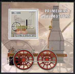 St Thomas & Prince Islands 2007 Steam locomotives - Erevithick perf deluxe s/sheet containing 1 value unmounted mint