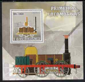 St Thomas & Prince Islands 2007 Steam locomotives - Blenkinsop perf deluxe s/sheet containing 1 value unmounted mint