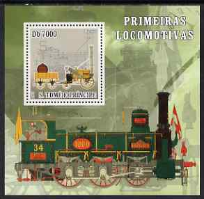 St Thomas & Prince Islands 2007 Steam locomotives - Rocket perf deluxe s/sheet containing 1 value unmounted mint