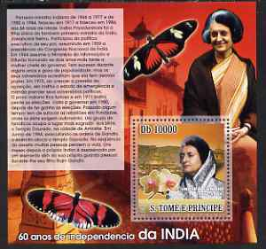 St Thomas & Prince Islands 2007 Independence of India - Indira Gandhi perf deluxe s/sheet containing 1 value unmounted mint