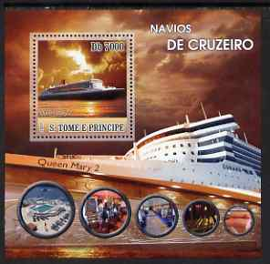 St Thomas & Prince Islands 2007 Cruise Ships - Queen Mary 2 perf deluxe s/sheet containing 1 value unmounted mint