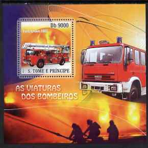 St Thomas & Prince Islands 2007 Fire Engines - Ford Crown 1965 perf deluxe s/sheet containing 1 value unmounted mint