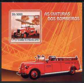 St Thomas & Prince Islands 2007 Fire Engines - Dennis 1933 perf deluxe s/sheet containing 1 value unmounted mint