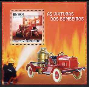 St Thomas & Prince Islands 2007 Fire Engines - Merryweather 1894 perf deluxe s/sheet containing 1 value unmounted mint