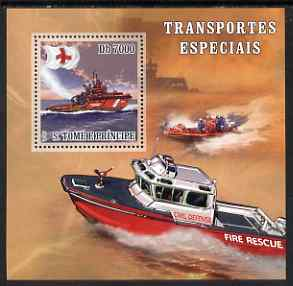 St Thomas & Prince Islands 2007 Special Transport - Fire Boat Rescue perf deluxe s/sheet containing 1 value unmounted mint