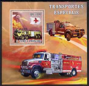 St Thomas & Prince Islands 2007 Special Transport - Fire Truck Rescue perf deluxe s/sheet containing 1 value unmounted mint