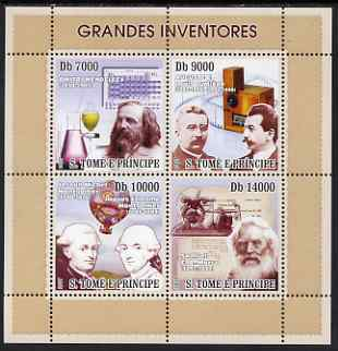 St Thomas & Prince Islands 2007 Great Inventors perf sheetlet containing 4 values unmounted mint