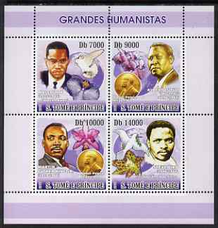 St Thomas & Prince Islands 2007 Great Humanitarians perf sheetlet containing 4 values unmounted mint