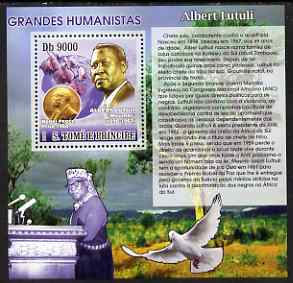 St Thomas & Prince Islands 2007 Great Humanitarians - Albert Lutuli perf deluxe s/sheet containing 1 value unmounted mint