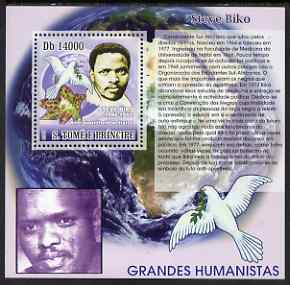 St Thomas & Prince Islands 2007 Great Humanitarians - Steve Biko perf deluxe s/sheet containing 1 value unmounted mint