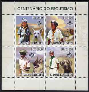 St Thomas & Prince Islands 2007 Scout Centenary & Dogs perf sheetlet containing 4 values unmounted mint