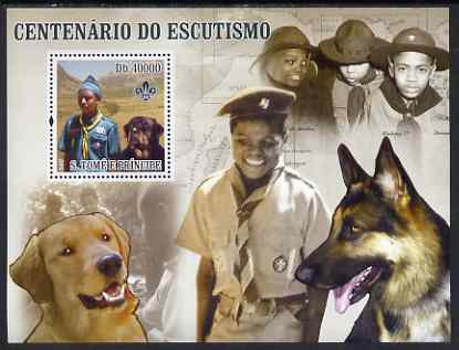 St Thomas & Prince Islands 2007 Scout Centenary & Dogs perf s/sheet containing 1 value unmounted mint