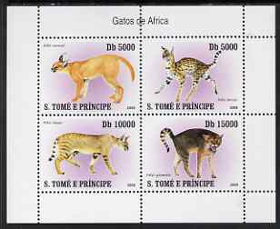 St Thomas & Prince Islands 2007 Wild Cats perf sheetlet containing 4 values unmounted mint
