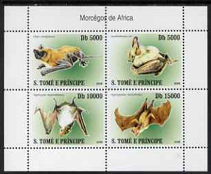 St Thomas & Prince Islands 2007 Bats perf sheetlet containing 4 values unmounted mint