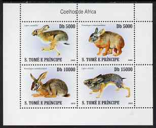 St Thomas & Prince Islands 2007 Rabbits perf sheetlet containing 4 values unmounted mint
