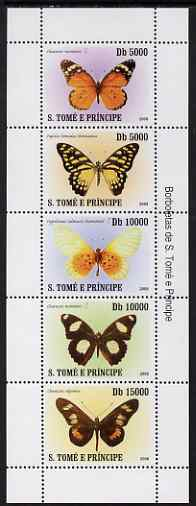 St Thomas & Prince Islands 2007 Butterflies perf sheetlet containing 5 values unmounted mint