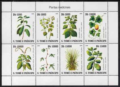 St Thomas & Prince Islands 2007 Medicinal Plants perf sheetlet containing 8 values unmounted mint