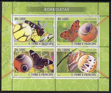 St Thomas & Prince Islands 2008 Butterflies perf sheetlet containing 4 values unmounted mint