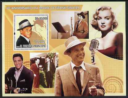 St Thomas & Prince Islands 2008 10th Death Anniversary of Frank Sinatra perf s/sheet containing 1 value unmounted mint