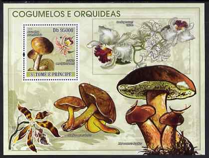 St Thomas & Prince Islands 2008 Mushrooms & Orchids perf s/sheet containing 1 value unmounted mint