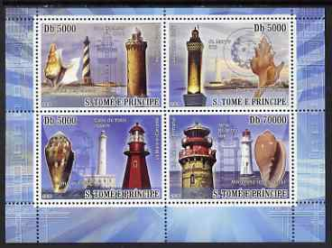 St Thomas & Prince Islands 2008 Lighthouses & Shells perf sheetlet containing 4 values unmounted mint