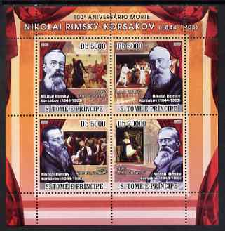 St Thomas & Prince Islands 2008 Death Centenary of Rimsky-Korsakov perf sheetlet containing 4 values unmounted mint