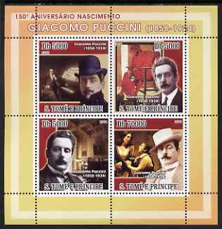 St Thomas & Prince Islands 2008 150th Birth Anniversary of Puccini perf sheetlet containing 4 values unmounted mint