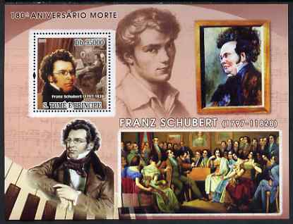 St Thomas & Prince Islands 2008 180th Death Anniversary of Schubert perf s/sheet containing 1 value unmounted mint