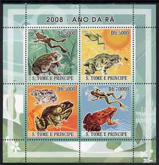 St Thomas & Prince Islands 2008 Frogs perf sheetlet containing 4 values unmounted mint