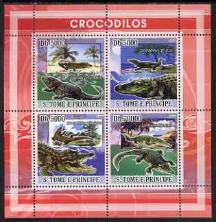 St Thomas & Prince Islands 2008 Crocodiles perf sheetlet containing 4 values unmounted mint