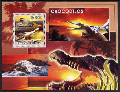 St Thomas & Prince Islands 2008 Crocodiles perf s/sheet containing 1 value unmounted mint