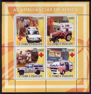 St Thomas & Prince Islands 2008 Ambulances of Africa - Red Cross perf sheetlet containing 4 values unmounted mint