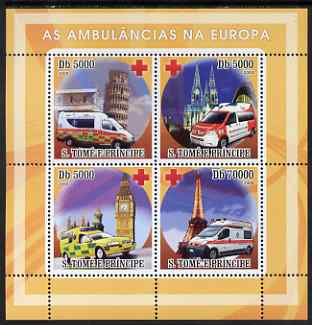 St Thomas & Prince Islands 2008 Ambulances of Europe - Red Cross perf sheetlet containing 4 values unmounted mint