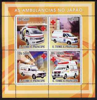 St Thomas & Prince Islands 2008 Ambulances of Japan - Red Cross perf sheetlet containing 4 values unmounted mint