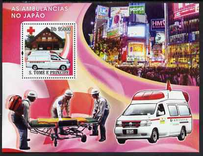St Thomas & Prince Islands 2008 Ambulances of Japan - Red Cross perf s/sheet containing 1 value unmounted mint