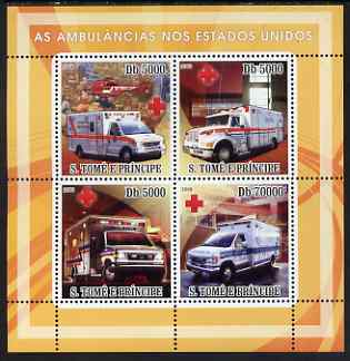 St Thomas & Prince Islands 2008 Ambulances of USA - Red Cross perf sheetlet containing 4 values unmounted mint