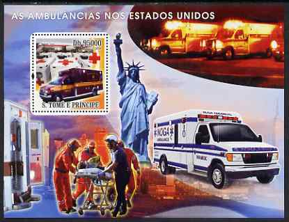 St Thomas & Prince Islands 2008 Ambulances of USA - Red Cross perf s/sheet containing 1 value unmounted mint