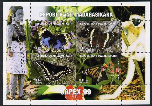 Madagascar 1999 Butterflies perf sheetlet containing 4 values with Japex 99 imprint in margin unmounted mint. Note this item is privately produced and is offered purely on its thematic appeal