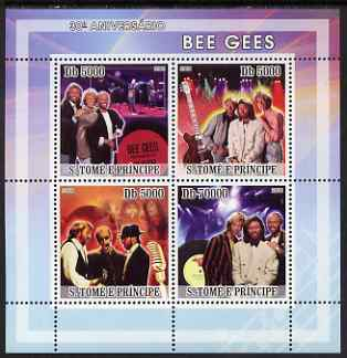 St Thomas & Prince Islands 2008 Bee Gees 30th Anniversary perf sheetlet containing 4 values unmounted mint