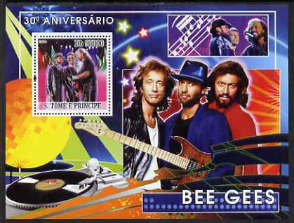 St Thomas & Prince Islands 2008 Bee Gees 30th Anniversary perf s/sheet containing 1 value unmounted mint