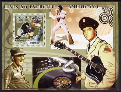 St Thomas & Prince Islands 2008 Elvis in the Army perf s/sheet containing 1 value unmounted mint, stamps on personalities, stamps on music, stamps on pops, stamps on elvis, stamps on movies, stamps on militaria