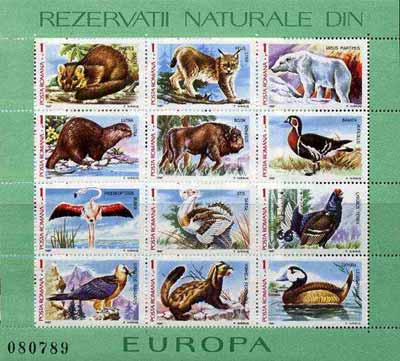 Rumania 1987 Europa (Animals & Birds), sheetlet containing 12 values unmounted mint Mi BL 236