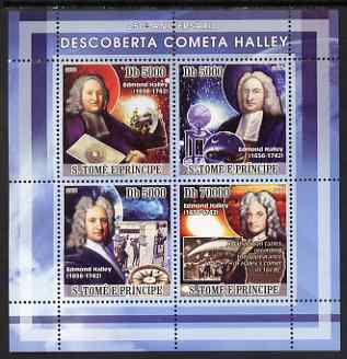 St Thomas & Prince Islands 2008 250th Anniversary of Discovery of Halleys Comet perf sheetlet containing 4 values unmounted mint