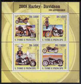St Thomas & Prince Islands 2008 150th Anniversary of Harley Davidson perf sheetlet containing 4 values unmounted mint