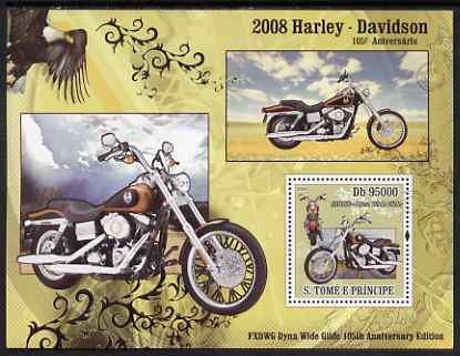 St Thomas & Prince Islands 2008 150th Anniversary of Harley Davidson perf s/sheet containing 1 value unmounted mint