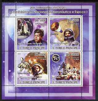 St Thomas & Prince Islands 2008 50th Anniversary of NASA perf sheetlet containing 4 values unmounted mint