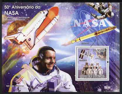 St Thomas & Prince Islands 2008 50th Anniversary of NASA perf s/sheet containing 1 value unmounted mint